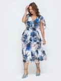 Платье с принтом и вафельной резинкой по талии белое 46881, фото 3