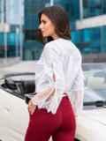 Белая блузка с гипюровыми манжетами 39664, фото 2
