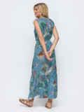 Длинное платье в полоску с оборкой по низу голубое 46862, фото 3