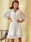 Короткое платье из шифона с расклешенной юбкой белое 53791, фото 2