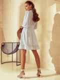 Короткое платье из шифона с расклешенной юбкой белое 53791, фото 5