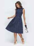 Принтованное платье с бантовыми складками на юбке тёмно-синее 45828, фото 2