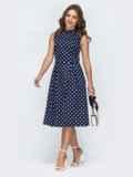 Принтованное платье с бантовыми складками на юбке тёмно-синее 45828, фото 3