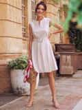 Платье-трапеция из льна со встречной складкой по полочке бежевое 54386, фото 2