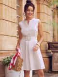 Платье-трапеция из льна со встречной складкой по полочке бежевое 54386, фото 3