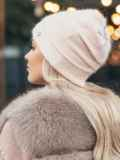 Пудровая двухслойная шапка с нитью люрекса 50524, фото 2