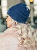 Темно-синяя двухслойная шапка с нитью люрекса 50521, фото 2