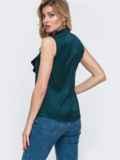 Блузка зеленого цвета с воротником-аскот 48424, фото 2