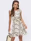 Бежевое принтованное платье без рукавов 54249, фото 1