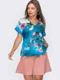 Голубая блузка с принтом и V-вырезом 49131, фото 2