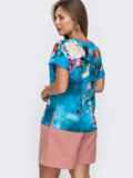 Голубая блузка с принтом и V-вырезом 49131, фото 3