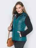 Бирюзовая куртка с капюшоном на кулиске и велюровыми рукавами 20286, фото 2