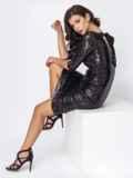 Чёрное платье-миди с пайетками и вырезом по спинке 52062, фото 5