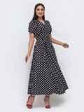Длинное платье батал в горох чёрное 46113, фото 2