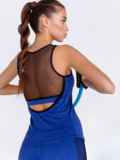 Синяя майка для фитнеса с эластичной сеткой 44636, фото 2