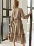 Бежевое платье из шифона с V-образным вырезом 54506, фото 4