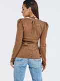 Бежевый джемпер мелкой вязки с завязками на шее 53029, фото 5