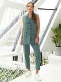 Льняной костюм из жилета и укороченных брюк зеленый 54185, фото 2