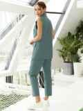 Льняной костюм из жилета и укороченных брюк зеленый 54185, фото 4
