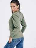 Зеленый джемпер из трикотажа с завязками на шее 53030, фото 4