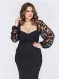 Черное платье батал с фигурным лифом 53210, фото 3