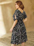 Чёрное платье батал с принтом и расклешенной юбкой 54123, фото 3