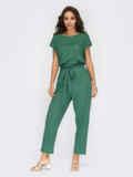 Льняной костюм-двойка с брюками зеленый 54281, фото 2