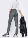 Трикотажные брюки в клетку серые 45025, фото 3