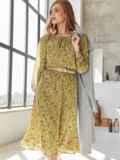 Платье из шифона с принтом и расклешенной юбкой оливковое 54807, фото 1
