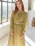 Платье из шифона с принтом и расклешенной юбкой оливковое 54807, фото 2