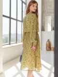 Платье из шифона с принтом и расклешенной юбкой оливковое 54807, фото 3