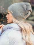 Серая демисезонная шапка с нитью люрекса 50531, фото 2
