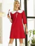 Трикотажное платье-трапеция со съёмным воротником красное 53327, фото 2