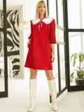 Трикотажное платье-трапеция со съёмным воротником красное 53327, фото 3