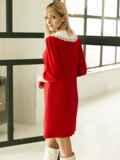 Трикотажное платье-трапеция со съёмным воротником красное 53327, фото 5