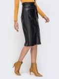 Чёрная юбка из искусственной кожи на пуговицах 41502, фото 2