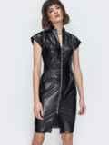 Платье на молнии со вшитым поясом чёрное 45046, фото 5