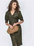 Платье из эко-кожи с накладными карманами цвета хаки 53681, фото 2