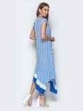 Голубое платье в полоску с асимметричным низом 21755, фото 3
