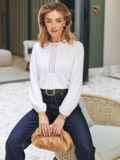 Хлопковая блузка белого цвета с вставкой из прошвы 54683, фото 1
