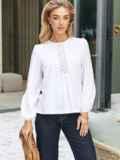 Хлопковая блузка белого цвета с вставкой из прошвы 54683, фото 2