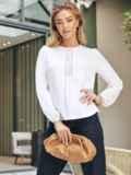 Хлопковая блузка белого цвета с вставкой из прошвы 54683, фото 3