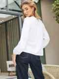 Хлопковая блузка белого цвета с вставкой из прошвы 54683, фото 4