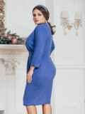 Синее платье большого размера с нитью люрекса 43850, фото 2