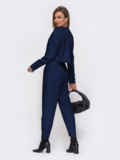 Темно-синий брючный костюм с укороченным жакетом 53527, фото 2