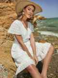Белое платье из прошвы с резинкой по талии 48229, фото 2