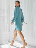 Бирюзовое платье-трапеция с воротником-аскот 50057, фото 4