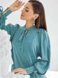 Бирюзовое платье-трапеция с воротником-аскот 50057, фото 5