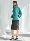 Бирюзовый комплект из блузки с баской и юбки 50058, фото 3