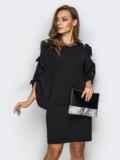 Черное платье с завязками на рукавах 13517, фото 2